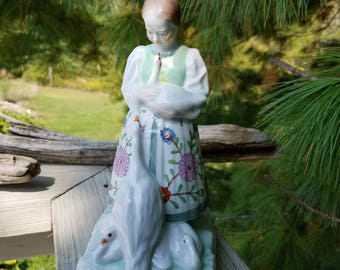 Herend Girl with Geese Figurine Made in Hungary #5565 Hand-Painted Porcelain