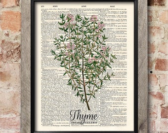 Kitchen Herb Print, Thyme Print, Dictionary art print, Old book pages, Kitchen decor, Dining room decor, Herbs Wall Decor, New home gift