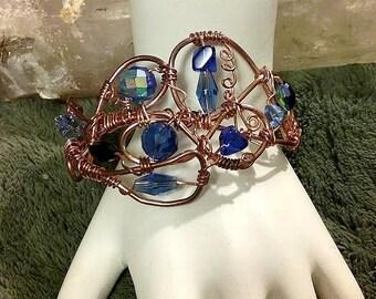 Copper free form, blue crystal bead cuff