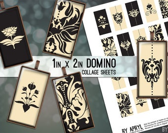 Damask Tan Grey 1x2 Domino Collage Sheet Digital Images for Domino Pendants Magnets Scrapbooking Journaling JPG D0023