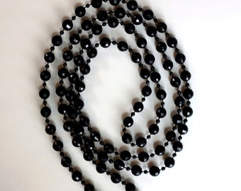 Vintage Black Two Size Plastic Crystal Beads Single Strand Flapper Length Necklace