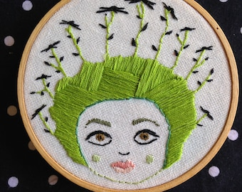 Little lady with flowers in her hair, Modern Embroidery, 5 inch hoop, Indie Decor