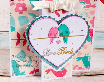 INSTANT DOWNLOAD Digi Stamp Includes Sentiment/ Cute Sweet Little Birds on a Wire w/ Heart ~ Love Birds Image No.310 by Lizzy Love