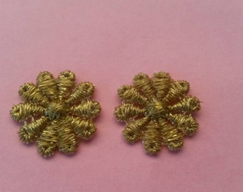 1 Piece BROWN and GOLD Flower Applique Sew On Flower Patch Petal