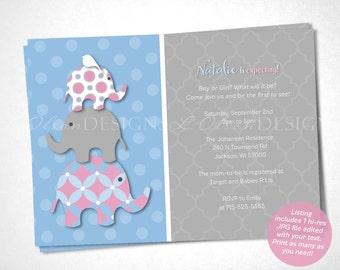 Stacked Elephant Baby Shower Invitation - Gender Reveal - DIY Printable