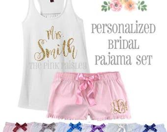 Personalized Bridal Pajama Set | Lingerie Wedding Shower Gift | Bride to Be | Seersucker | Honeymoon PJs | Wedding Gift | Womens Boxers