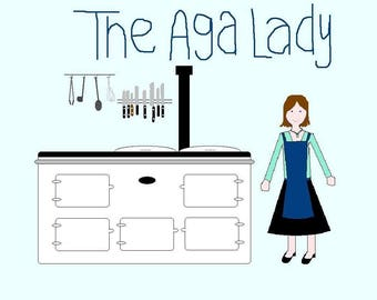 Aga Lady linen tea towel