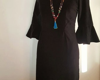 SALE-Rich Black Velvet Dress with 3/4 Sleeve mid Length and square neck line and pocket