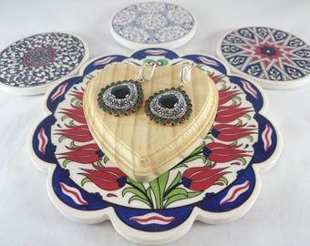 Sterling Silver Black Onyx Earrings, Silver Earrings, Onyx Earrings, Zircon Earrings, Earrings, Valentine
