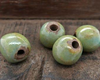 Stoneware Round Beads Sea Green Blue Handmade Pottery
