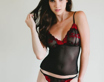 Sheer Mesh String Bikini With Red and Black Lace Front - 'Magnolia' Style Panties Made To Order Custom Fit Lingerie