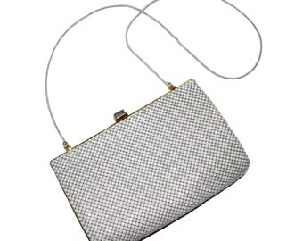 White Vintage Metal Mesh Shoulder Bag // White Chain Strap Bag // White Metal Cross Body Bag // Women's 1960's Clutch, White Handbag, Purse
