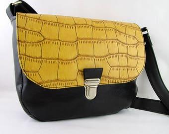 Satchel black faux leather and mustard yellow leatherette, woman, woman, original small bag handbag shoulder bag
