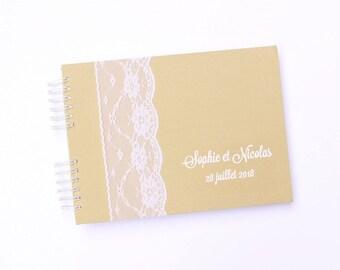 Livre d'or mariage 50 pages- lin beige et dentelle
