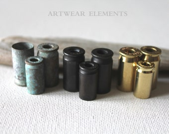 Bullet Casing Lots, Various Sizes, Spent Casings, With Hole, Raw Brass, Oxidized, Patina Bead Caps, Tassel Bead Caps, ArtWear Elements®