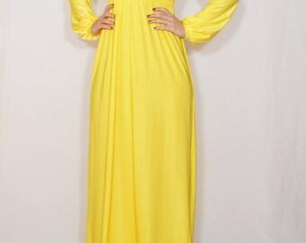Long sleeve maxi dress Yellow dress casual women maxi dress Long sleeve dress Empire waist
