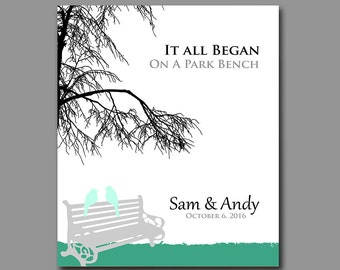 It All Began - First 1st Anniversary Gift - Wedding Gift - Gift for Couples - Love Birds on Park Bench - Available in any Color