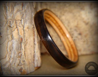 Bentwood Ring - Ebony and Birch Ply Liner Handcrafted Durable and Unique