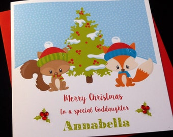 Childrens Personalised Christmas Woodland Animals Card