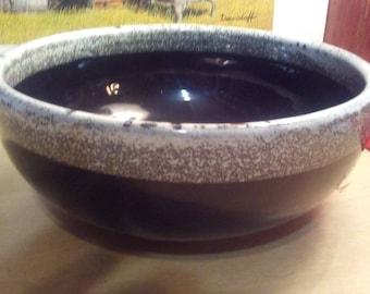 "Watts pottery black on gray # 54 - 8"" mixing bowl Rare"