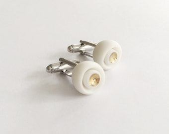 White Gold Porcelain Cufflinks,  24ct Gold  - Alicante, Wedding Groomsmen Gift , Handmade Cuff links , flower cufflinks , Porcelain Jewelry