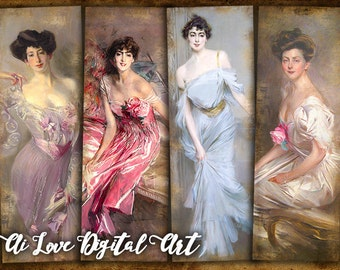 Printable bookmarks, instant download, digital collage sheet, Giovanni Boldini Paintings