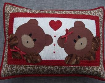 Red Bears In Love Cushion