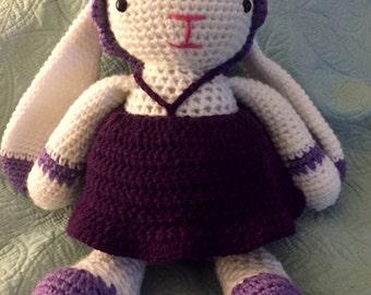 Crochet Chubby Bunny, crochet toy, amigurumi bunny, stuffed bunny, girl bunny with dress, Easter gift, Easter toy, stuffed bunny