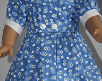 Blue daisy dress with white trim, American Girl blue dress, Fits 18 inch doll