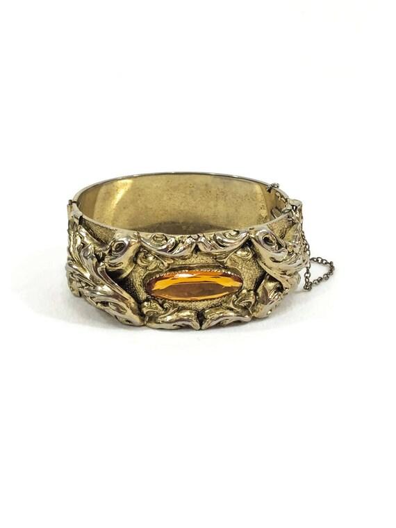 Wide Chunky Goldtone Bangle Bracelet, Art Nouveau Foliate Repousse, Topaz Stone, 1950s Victorian Revival, Vintage Whiting Davis Jewelry