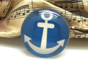 2 cabochons glass spirit sailor anchor Blue 10 mm - 10 mm