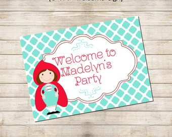 Printable Welcome Sign 5x7 - Little Red Riding Hood Party Collection