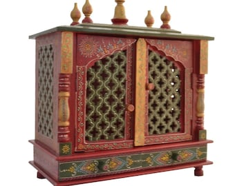 Fasherati Wooden Temple/ Home Temple/ Pooja Mandir/ Pooja Mandap/ Temple For Home With White Light
