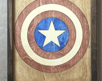 Captain America Wooden Inlay Wall Art