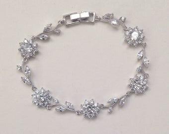 Floral Bridal Bracelet, wedding Bracelet, Cubic Zirconia Crystal Bracelet, Flower Bridal Bracelet, Floral Jewelry