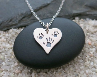 Three Hand Prints Necklace, Sterling Silver Heart Charm, Mom Jewelry
