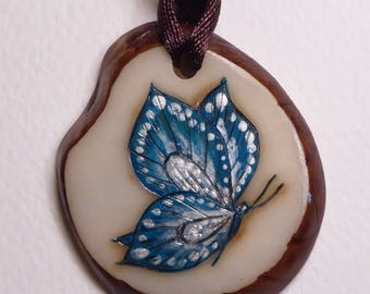 Blue and Silver Pendant gift butterfly necklace hand painted artisan made tagua pyrography by Rita Ferrara