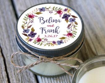 12 - 4 oz Soy Candle Wedding Favors -Floral Wreath Label - Bridal Shower Favors - Floral Wedding Favor - Mason Jar Favor