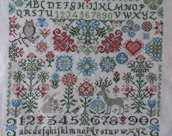 Wildflower Woodland Quaker LIMITED TIME SAL - Quaker/wildflowers, woodland creatures owl/deer/rabbit flowers/ Cross-stitch/ Counted-thread