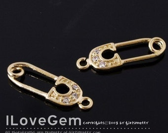 P1754 Gold plated, Safety Pin charm, 4pcs