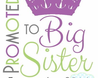 Promoted to Big Sister IRON ON TRANSFER- Tshirt - Bodysuit - Tote Bags