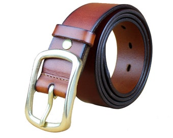 Genuine Leather High Quality Casual Dress Golden Buckle Red Brown Belt