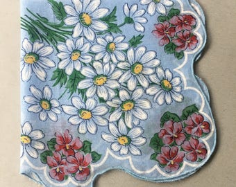 Something Blue for Bride, Blue Cotton Hanky | daisy flower handkerchief, blue scalloped hankie, ladies hankies, womens handkerchiefs floral