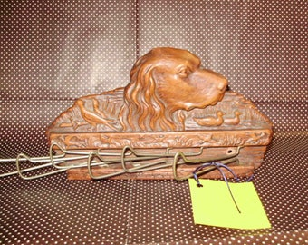 Vintage Tie or Belt Rack Syroco Wood with Irish Setter and Water Birds mid 1950's