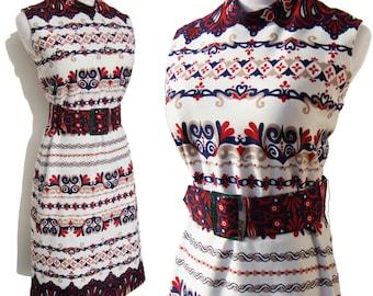 Vintage 60s Dress Mod Pop Art Red White Blue Polyester M