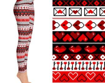 8 Bit Valentines Heart Red, Heart Leggings, Striped Leggings, Printed Leggings, Funky Leggings, Unique Leggings, Designer Leggings, Leggings