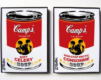 Soft Cell Pop Art Soup Cans, framed original art, set of 2 by Zteven