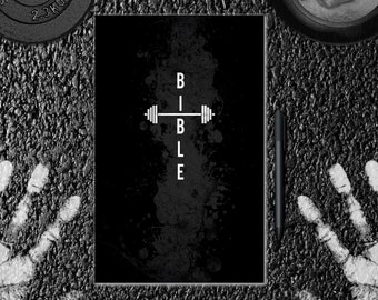 Gym Bible Barbell- Black/White- Journal, Notebook, Diary, Sketchbook. Creative Planner, Logbook, Organizer, Agenda.