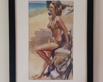 Wilfred Glendon May 1922-2007 Female on beach c1950 Original Watercolour