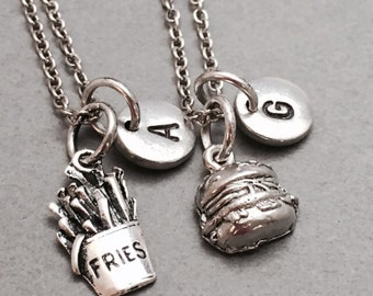 Best friend necklace, food necklace, fries, cheeseburger necklace, bff necklace, french fries, bff necklace, sister necklace, friendship